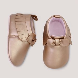 Baby Girl Gold Moccasins 3-6m Holiday crib shoes